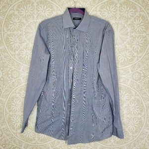 Kenneth Cole Long Sleeve Button Down Shirt Blue